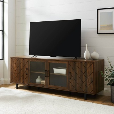 "Vik Modern Boho 4 Door Herringbone TV Stand for TVs up to 85"" - Saracina Home"
