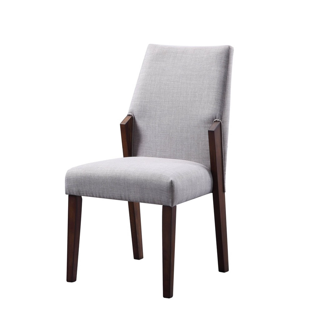 Set Of 2 Wood And Fabric Upholstered Dining Chairs Gray Brown Benzara