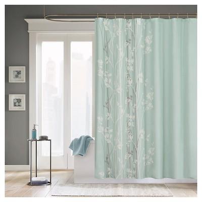 Athena Floral Microfiber Shower Curtain Teal