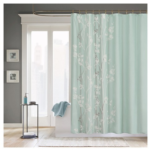 Athena Floral Microfiber Shower Curtain Teal - image 1 of 1
