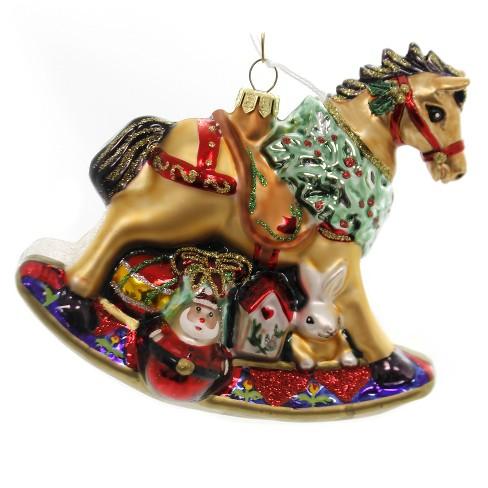 "Holiday Ornaments 5.5"" Christmas Rocking Horse Toys Santa Bear  -  Tree Ornaments - image 1 of 2"