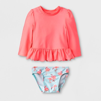 Baby Girls' Long Sleeve Rash Guard Set - Cat & Jack™ Pink 9-12M