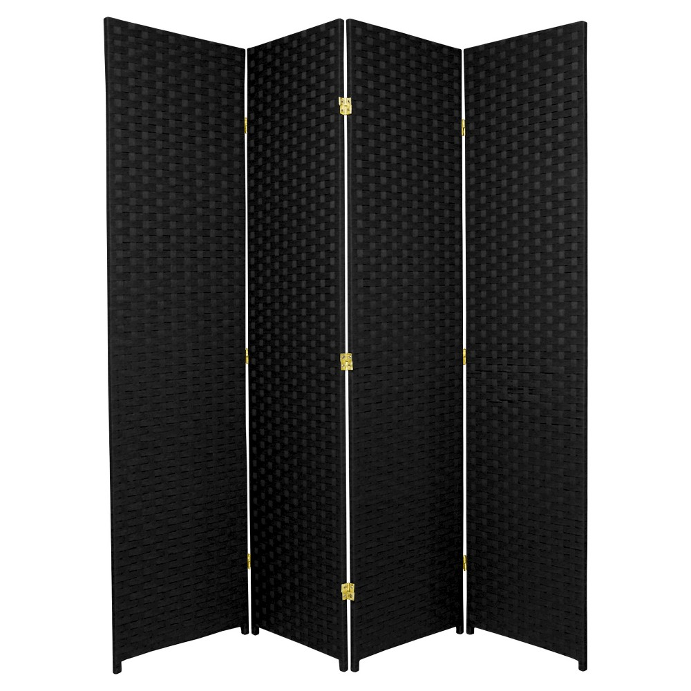 Oriental 6 ft. Tall Woven Fiber Room Divider - Black (4 P...