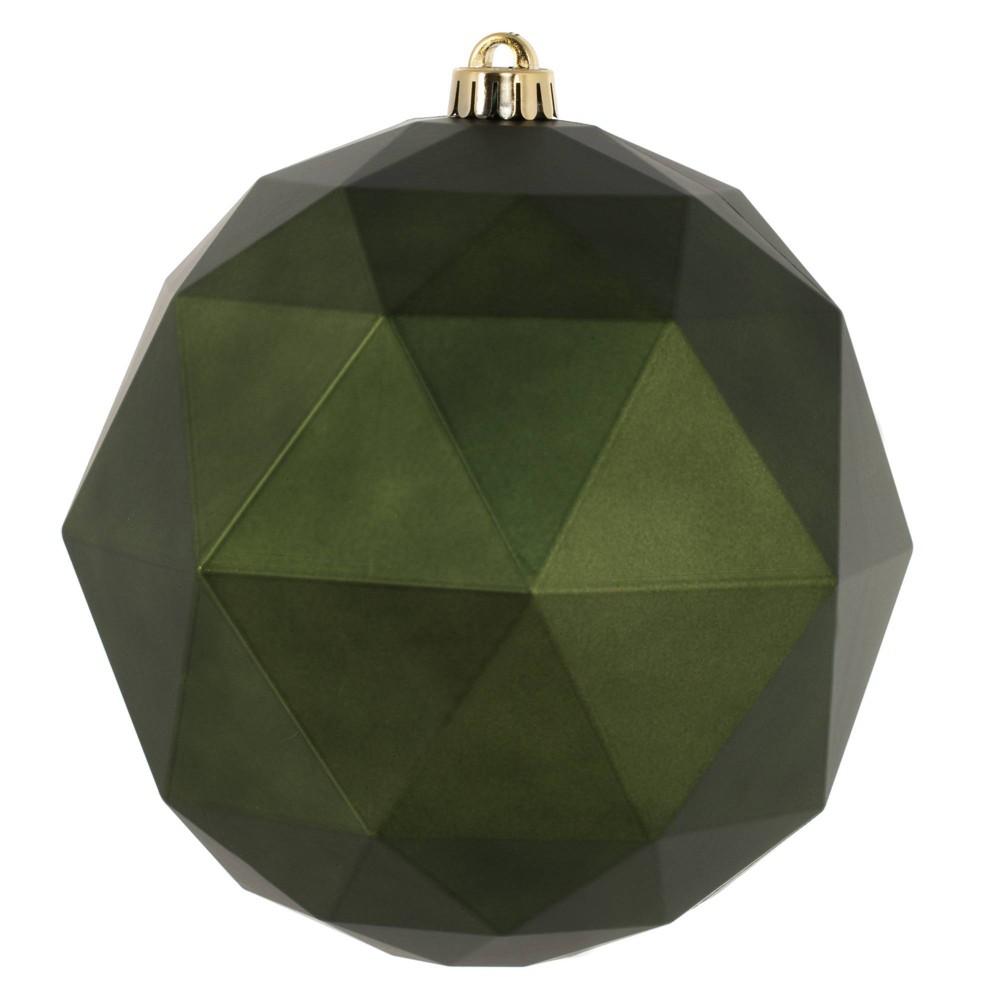 "Vickerman 8"" Matte Geometric Ball Ornament Moss Green"