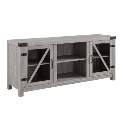"2 Glass Barndoor Rustic Farmhouse TV Stand for TVs up to 65"" - Saracina Home"