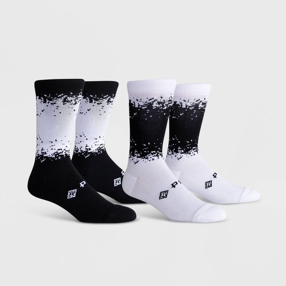 Image of PKWY Men's Dual 2pk Crew Socks - Black/White L, Men's, Size: Small, Black White
