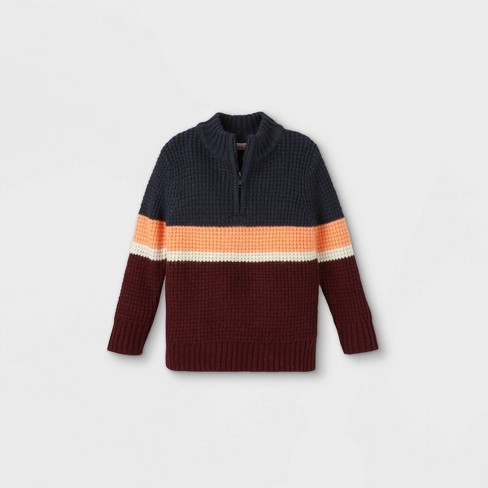 Toddler Boys' Striped Zip-Up Crew Neck Pullover Sweater - Cat & Jack™ - image 1 of 2