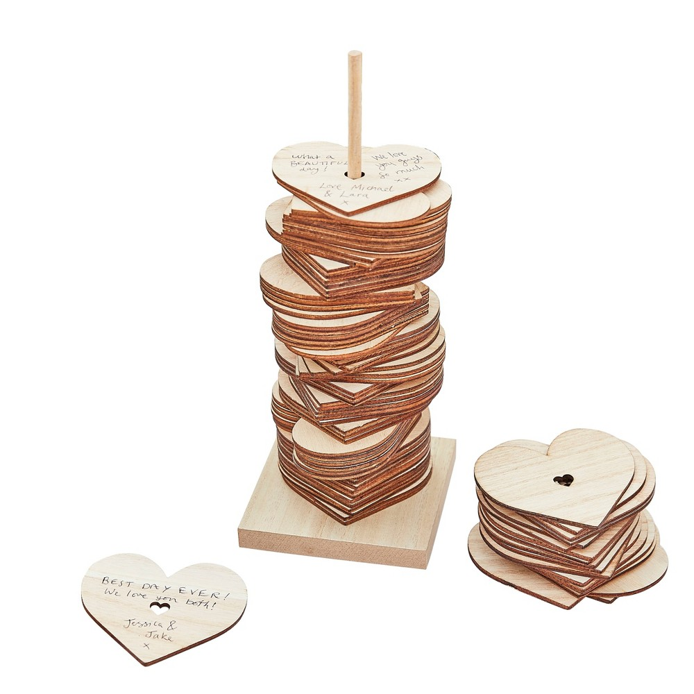 Image of Wooden Stacking Heart Guest Book