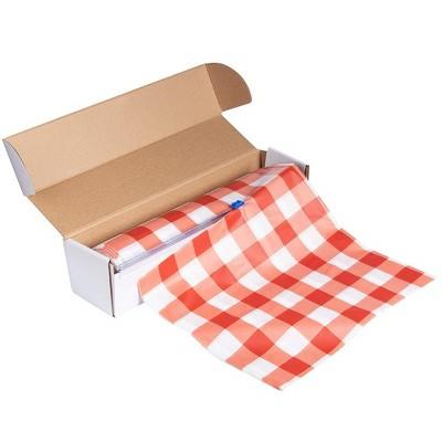 """Juvale Red Gingham Disposable Plastic Tablecloth Table Cover Roll 98 Feet x 54"""" Party Supplies"""