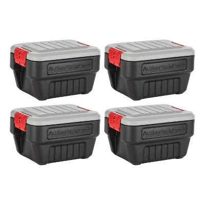 Rubbermaid 8 Gallon Action Packer Lockable Latch Indoor and Outdoor Storage Box Container, Black (4 Pack)