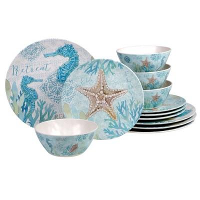 12pc Melamine Beachcomber Dinnerware Set - Certified International
