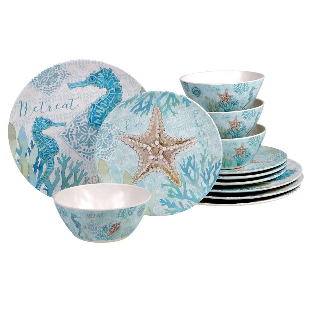 Image of 12pc Melamine Beachcomber Dinnerware Set - Certified International