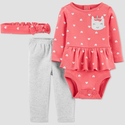 Baby Girls' 3pc Unicorn Top & Bottom Set - Just One You® made by carter's Newborn Pink