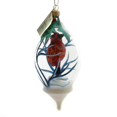 """Christina's World 6.5"""" Cardinal In A Dome Christmas Ornament Bird Red  -  Tree Ornaments"""