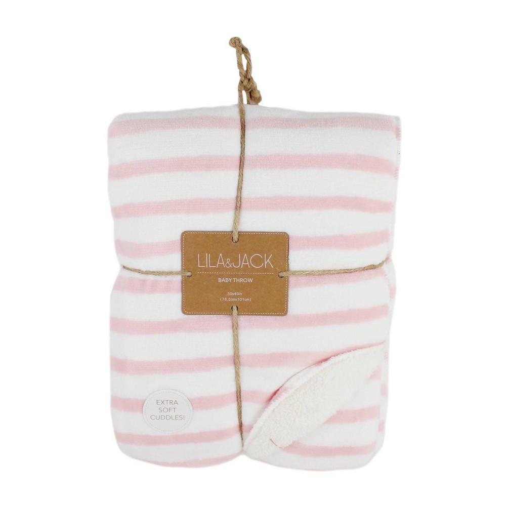 Image of Lila and Jack Baby Blanket Blush Stripe Flannel Sherpa Throw