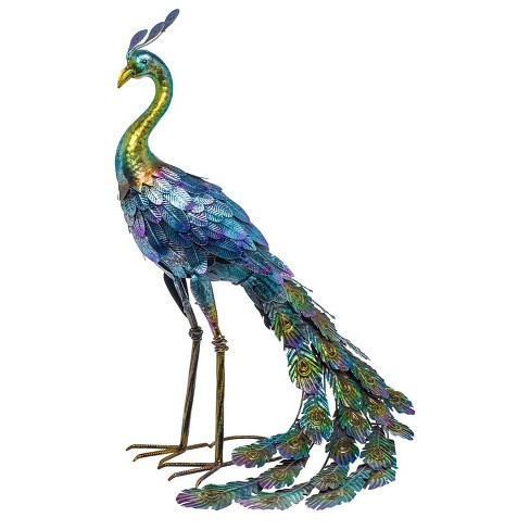 28 Metal Peacock Outdoor Decor With Glossy Finish Statue Alpine Corporation Target