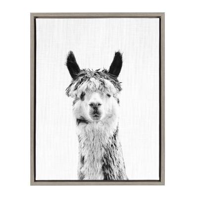 Kate & Laurel 24 x18  Sylvie Llama And Portrait By Simon Te Tai Framed Wall Canvas Gray