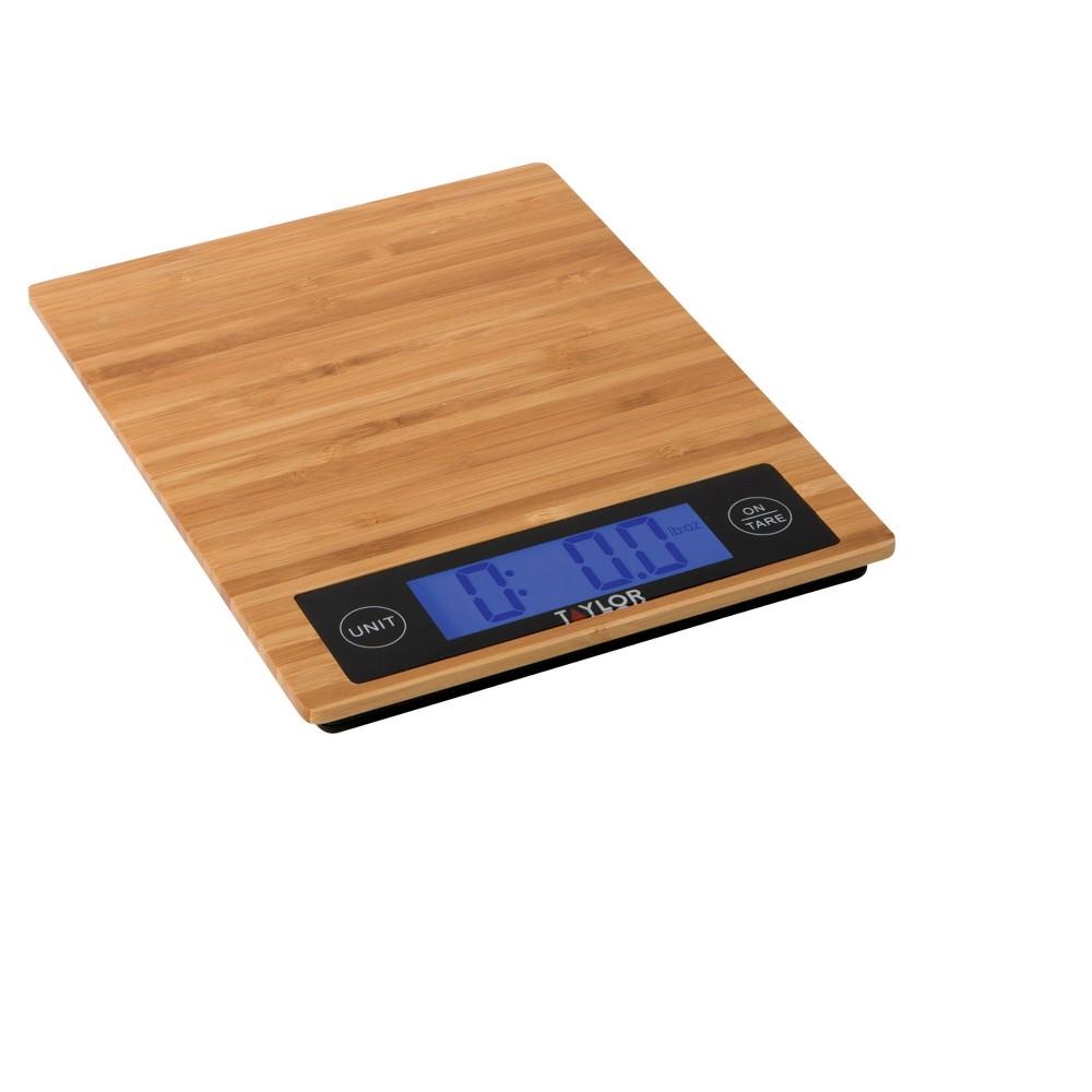 Image of Taylor 11lb Eco-Bamboo Platform Digital Food Scale