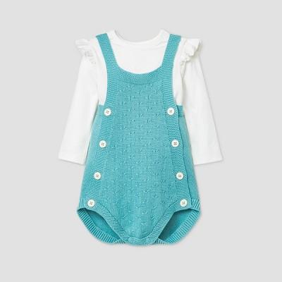 Baby Girls' Cable Romper Bodysuit Set - Cat & Jack™ Aqua 6-9M