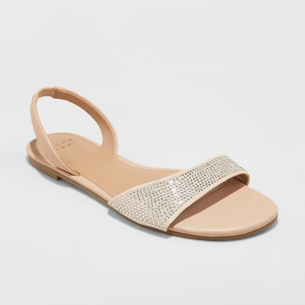 Women's Gabriella Embellished Slide Sandals - A New Day Gold 12