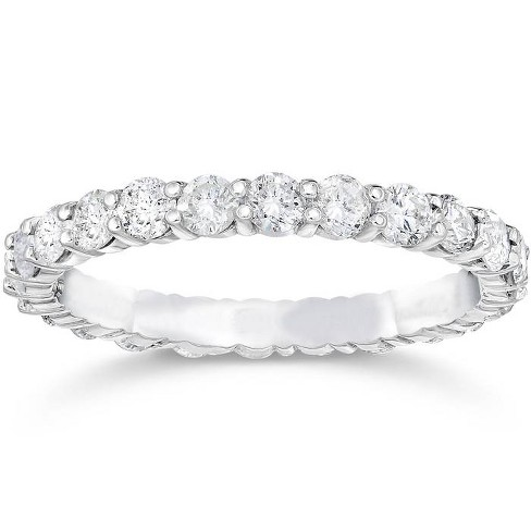 Pompeii3 1 1/2ct 14k White Gold Round Diamond Womens Eternity Anniversary Stackable Wedding Ring - image 1 of 3