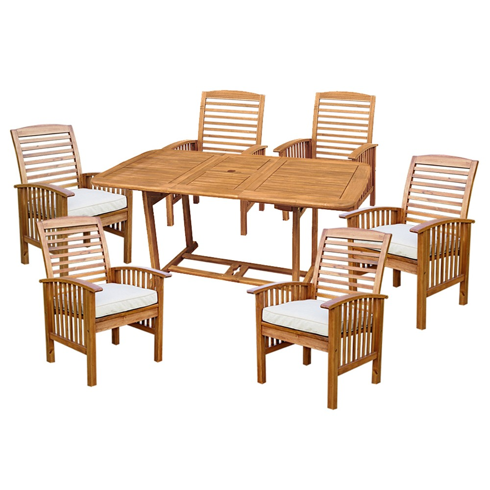 7pc Acacia Patio Dining Set with Cushions - Brown - Saracina Home