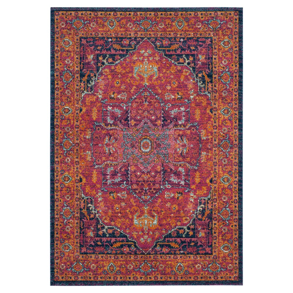Red Medallion Loomed Area Rug 5'1