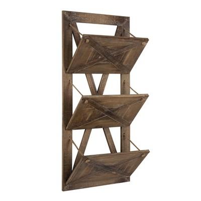 "15"" x 33"" Hardeman 3 Pocket Wood Hanging Wall File Holder Rustic Brown - Kate and Laurel"