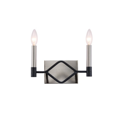 """Varaluz 7.25"""" H x 11"""" W To Circuit with Love 2 Bath Light Textured Black/Brushed Nickel - image 1 of 4"""