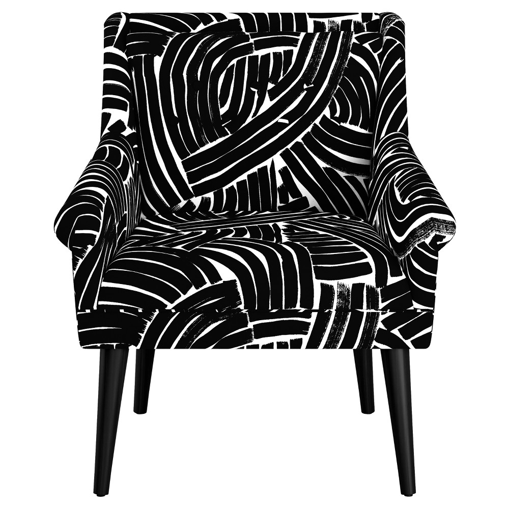 Image of Button Tufted Chair - Black & White Stripes - Oh Joy!