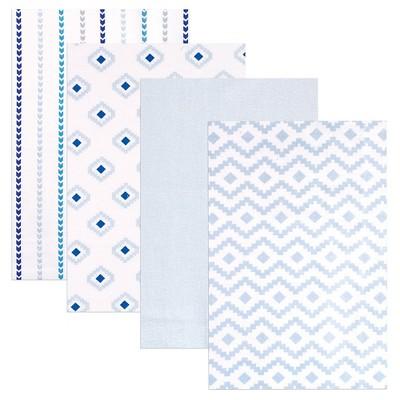 Hudson Baby Flannel Receiving Blankets - Blue Modern - 4pk