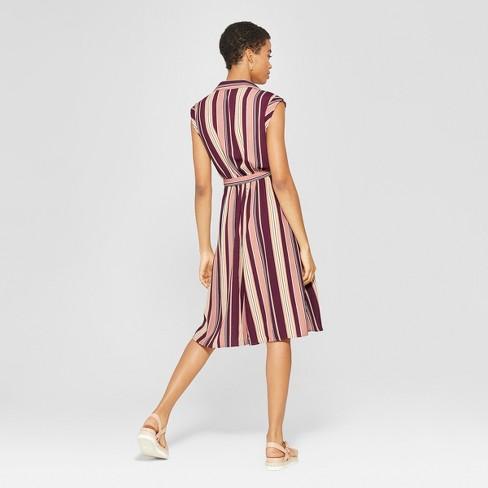 14a92d340e4b8 Women s Striped Sleeveless Collared Wrap Midi Dress - Xhilaration™ Mauve  Mustard   Target