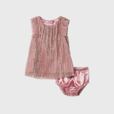 Baby Girls' Pleated Mesh Lurex Dress - Cat & Jack™ Pink 6-9M