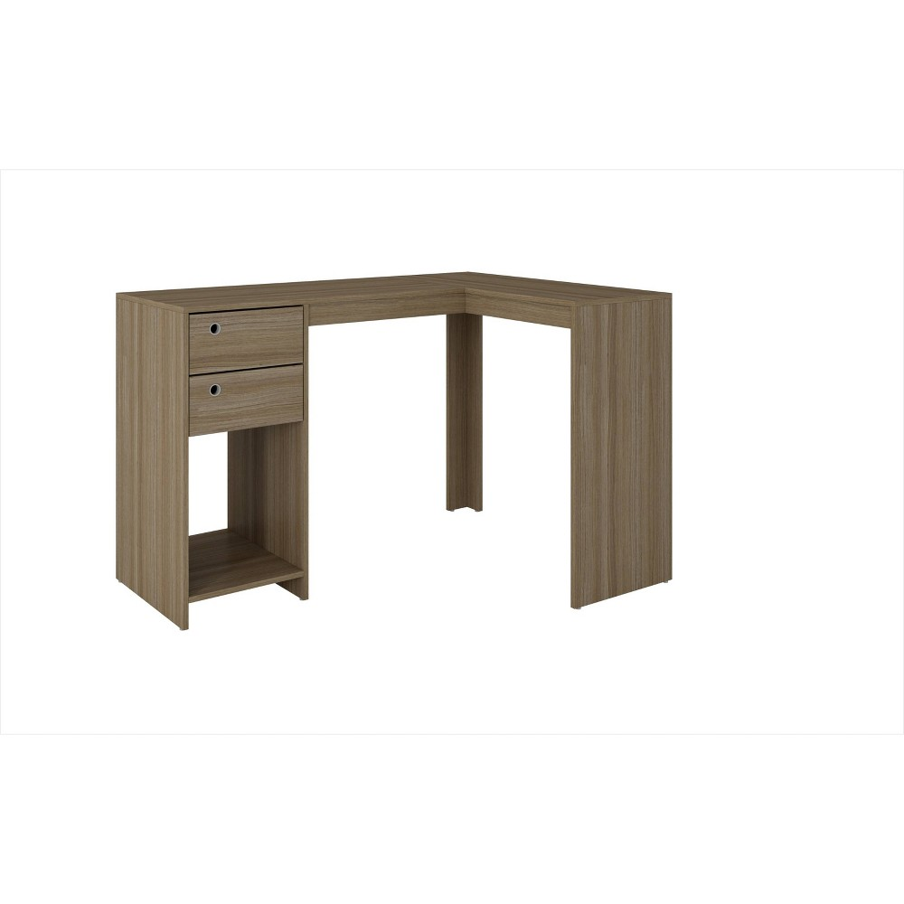 Palermo Classic L Desk with 2 Drawers and 1 Cubby Oak Brown - Manhattan Comfort