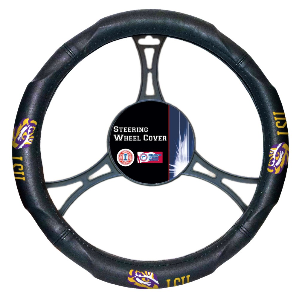 Ncaalsu Tigers Steering Wheel Cover, Purple/Gold