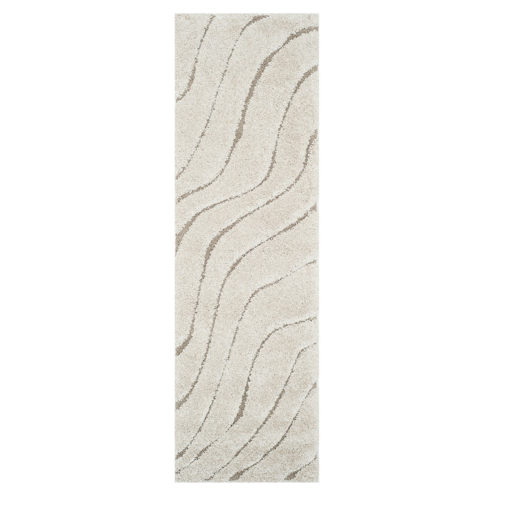 Cream/Beige (Ivory/Beige) Wave Loomed Runner 2'3X7' - Safavieh