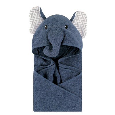 Little Treasure Baby Boy Cotton Animal Face Hooded Towel, Chevron Elephant, One Size