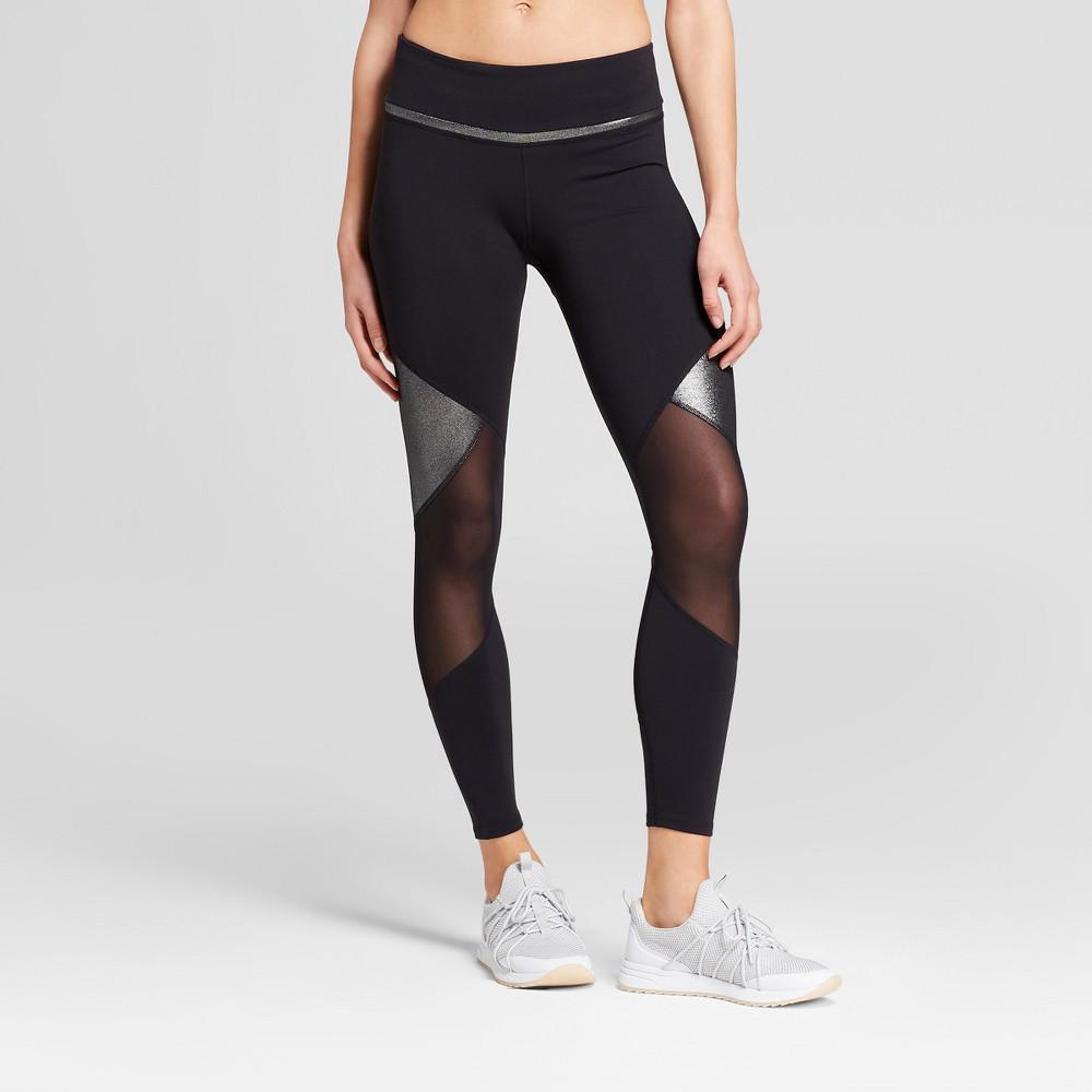 Women's Premium 7/8 Shine and Mesh Pieced High-Waisted Leggings - JoyLab Black M