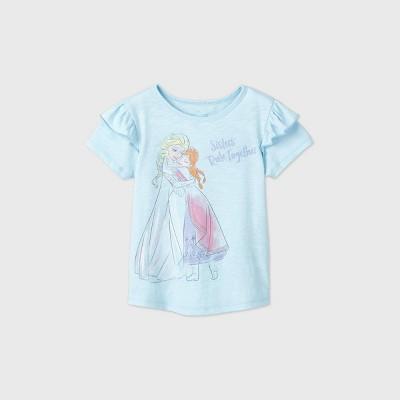 Toddler Girls' Frozen Elsa and Anna Sisters Rule Short Sleeve T-Shirt - Blue