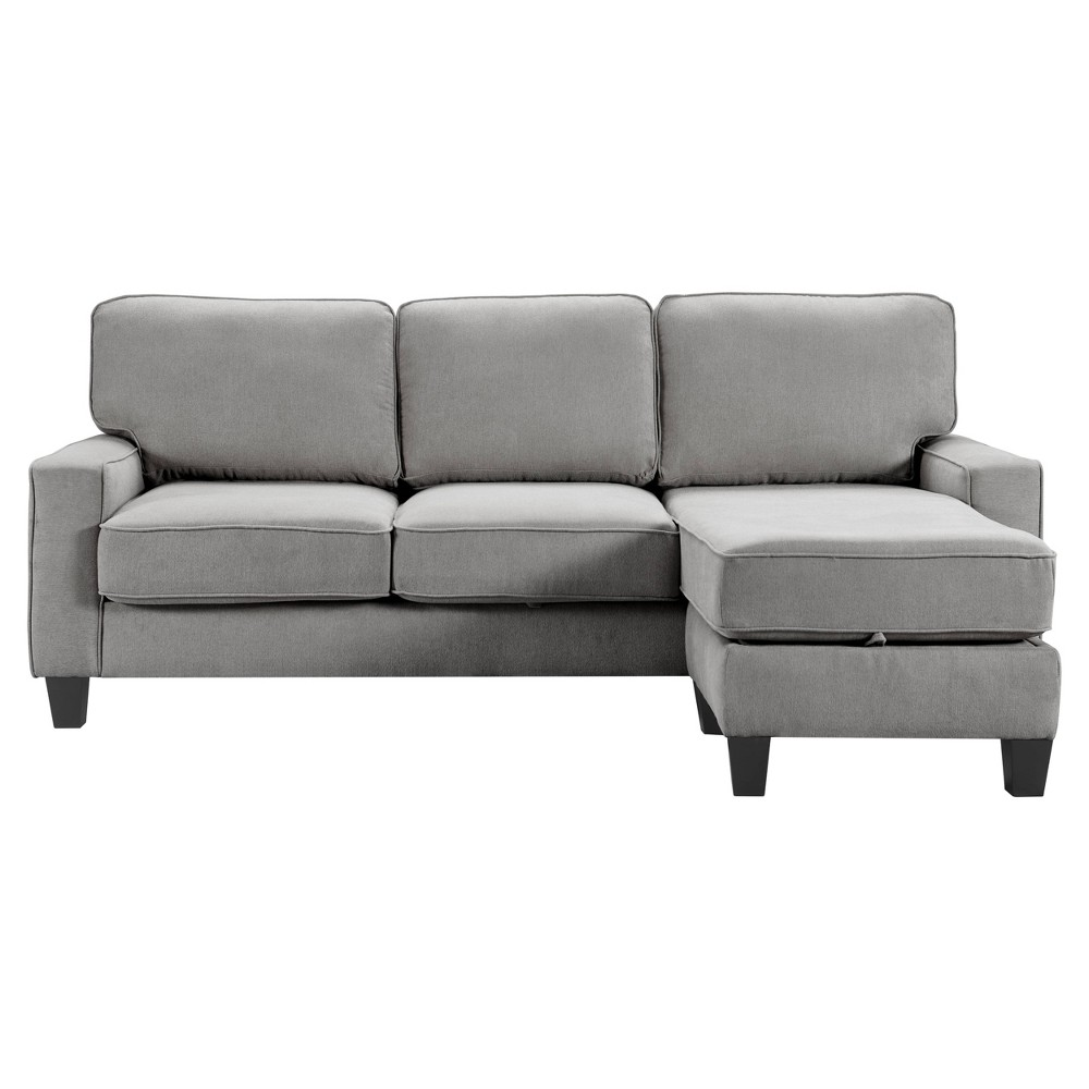 "Image of ""86"""" Palisades Reversible Small Space Sectional with Storage Soft Gray - Serta"""