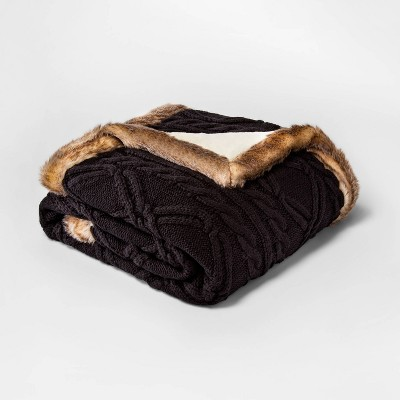 Cable Knit Throw Blanket with Mink Faux Fur Reverse and Faux Fur Trim Black/Brown - Threshold™