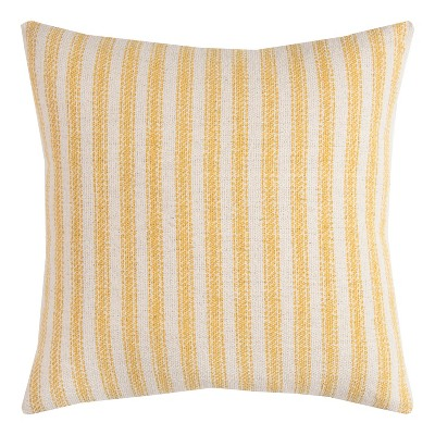"20""x20"" Ticking Striped Throw Pillow Gold - Rizzy Home"