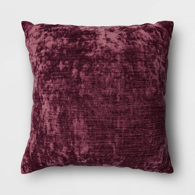 Square Velvet Throw Pillow Burgundy - Threshold™