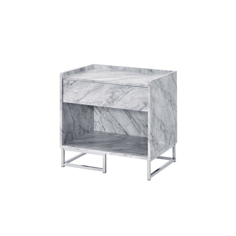 Azrael Accent Table White Chrome Acme Furniture
