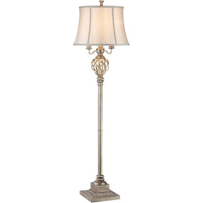 Barnes and Ivy Traditional Floor Lamp with Nightlight LED Olde Silver Mercury Glass Faux Silk Bell Shade for Living Room Reading