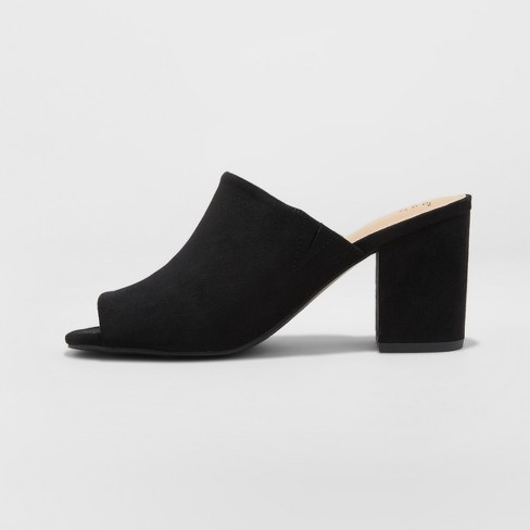 433711081f Women's Didi Block Heel Mules - A New Day™ Black 8.5 : Target