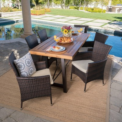 Torrens 7pc Acacia Wood/Wicker Patio Dining Set - Brown - Christopher Knight Home