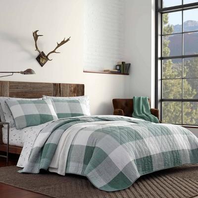 Eddie Bauer Full/Queen Boulder Plaid Quilt & Sham Set Green
