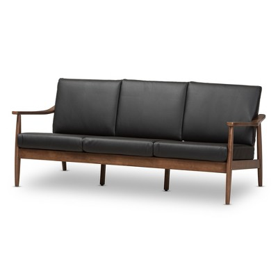 Venza Mid-Modern Walnut Wood Faux Leather 3 Seater Sofa Black - Baxton Studio