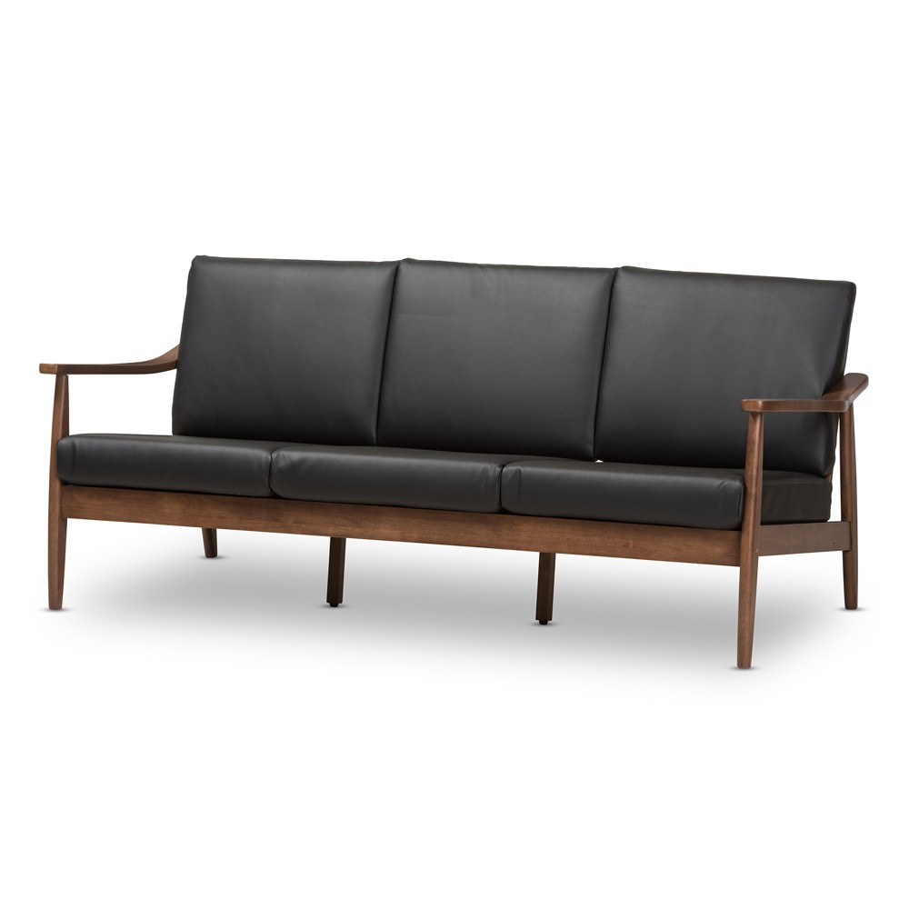 Venza Mid Modern Walnut Wood Faux Leather 3 Seater Sofa Black - Baxton Studio